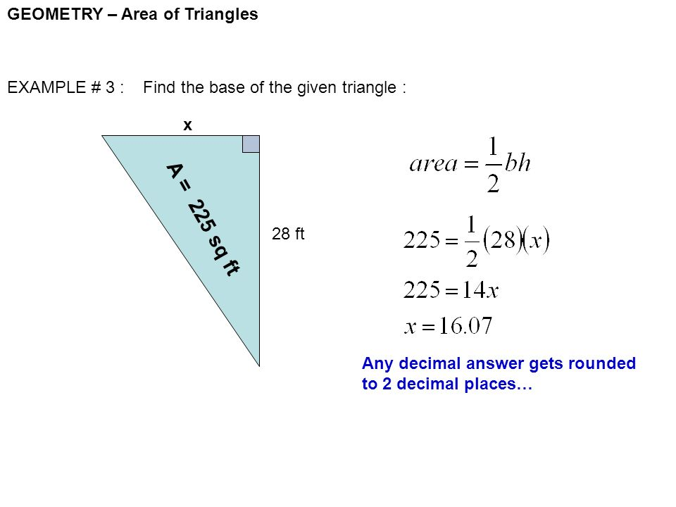 Geometry area of triangles ppt video online download a 225 sq ft geometry area of triangles ccuart Gallery