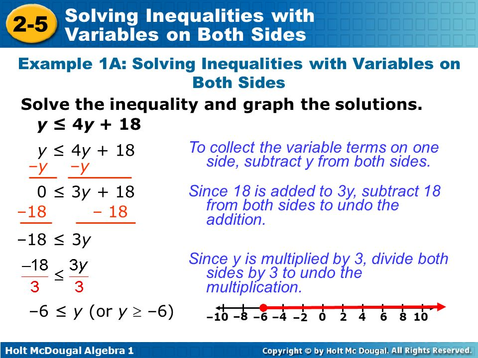 Solving Inequalities With Variables On Both Sides Ppt Video Online