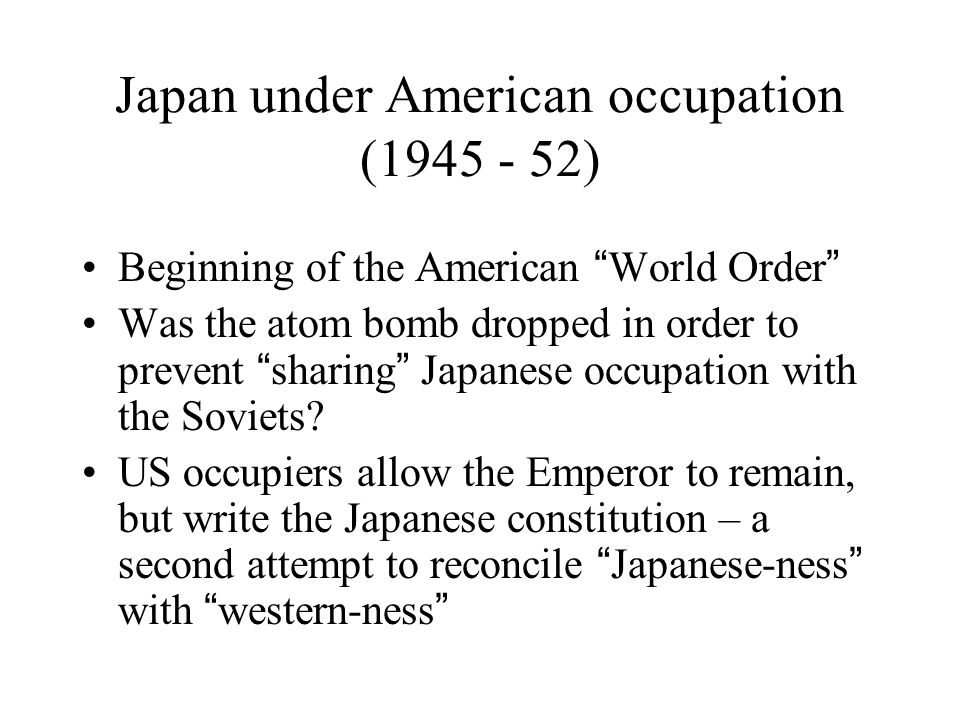 the effects of the american occupation in japan The occupation of japan  no unfavorable opinion about the occupation was allowed discussions on the effects of the atomic bombs on hiroshima and nagasaki were forbidden motion pictures were censored, including the work of filmmakers whose movies had been forbidden during the war years by january 1946, 670 newspaper articles had been banned.