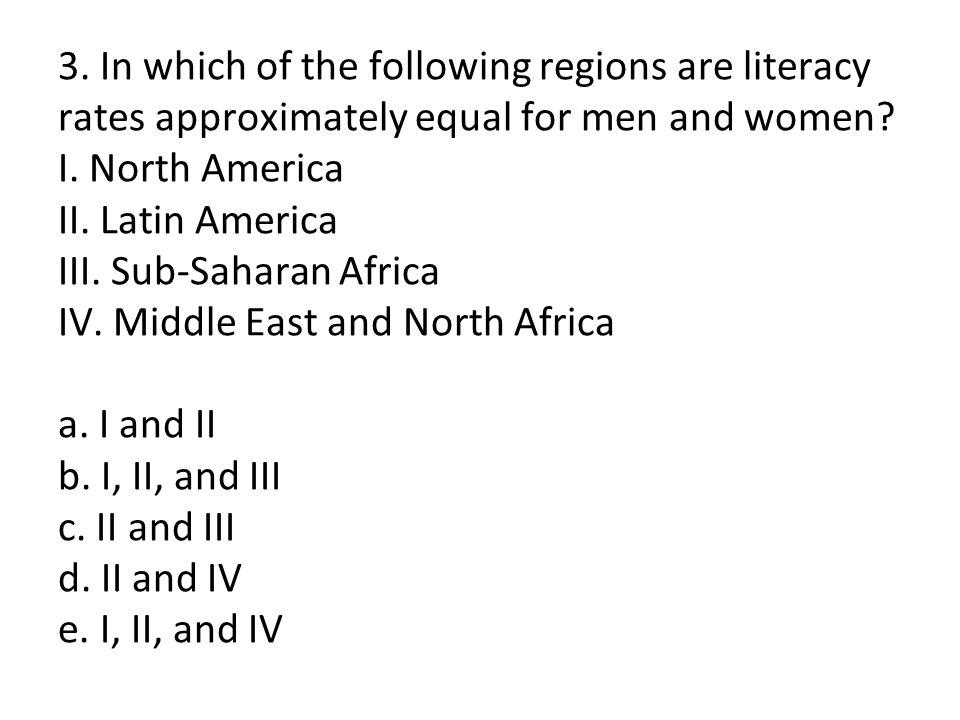 3. In which of the following regions are literacy rates approximately equal for men and women.