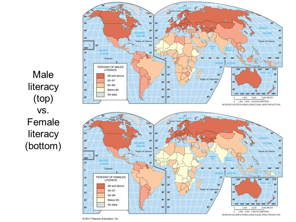 Male literacy (top) vs. Female literacy (bottom)
