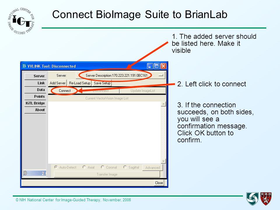 Connect BioImage Suite to BrianLab