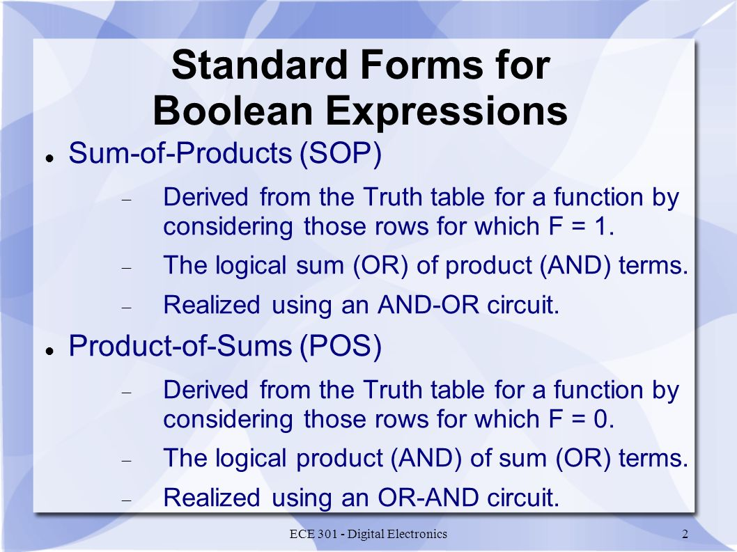 Standard Forms for Boolean Expressions