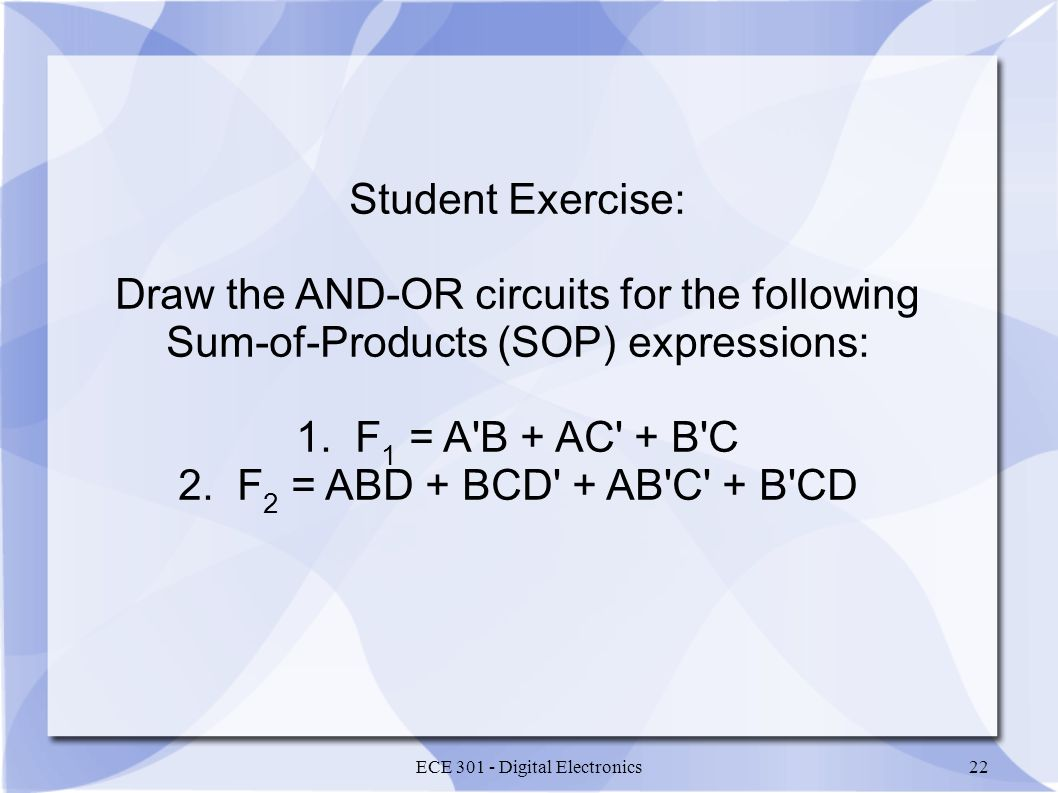 Draw the AND-OR circuits for the following