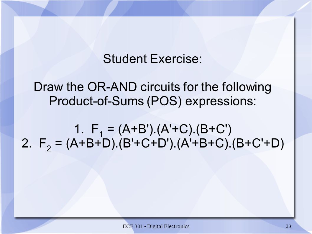 Draw the OR-AND circuits for the following