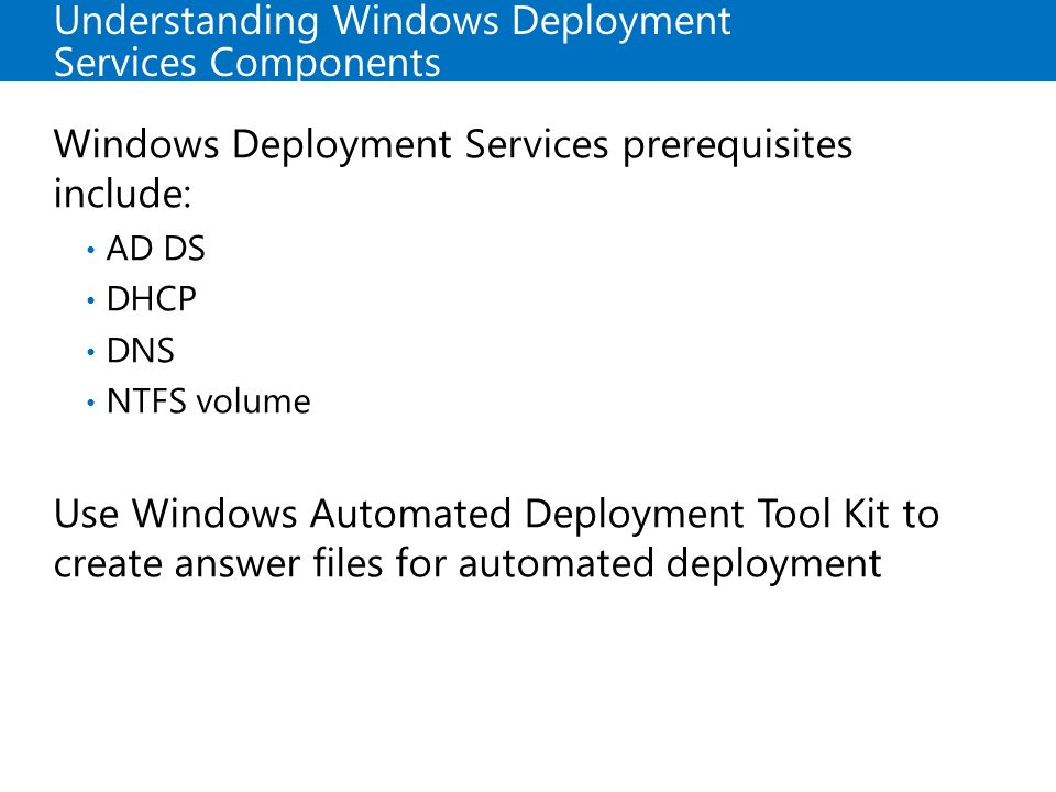 Understanding Windows Deployment Services Components
