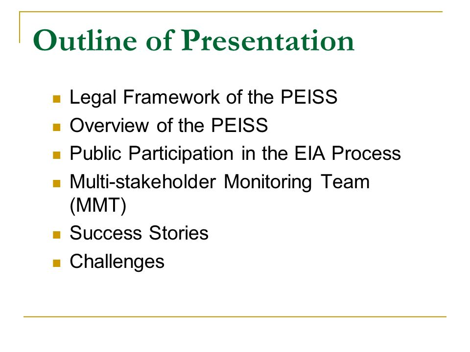the philippine environmental impact statement system Statement system: framework,  the philippine environmental impact statement system: framework, implementation,  the philippine environmental impact statement.