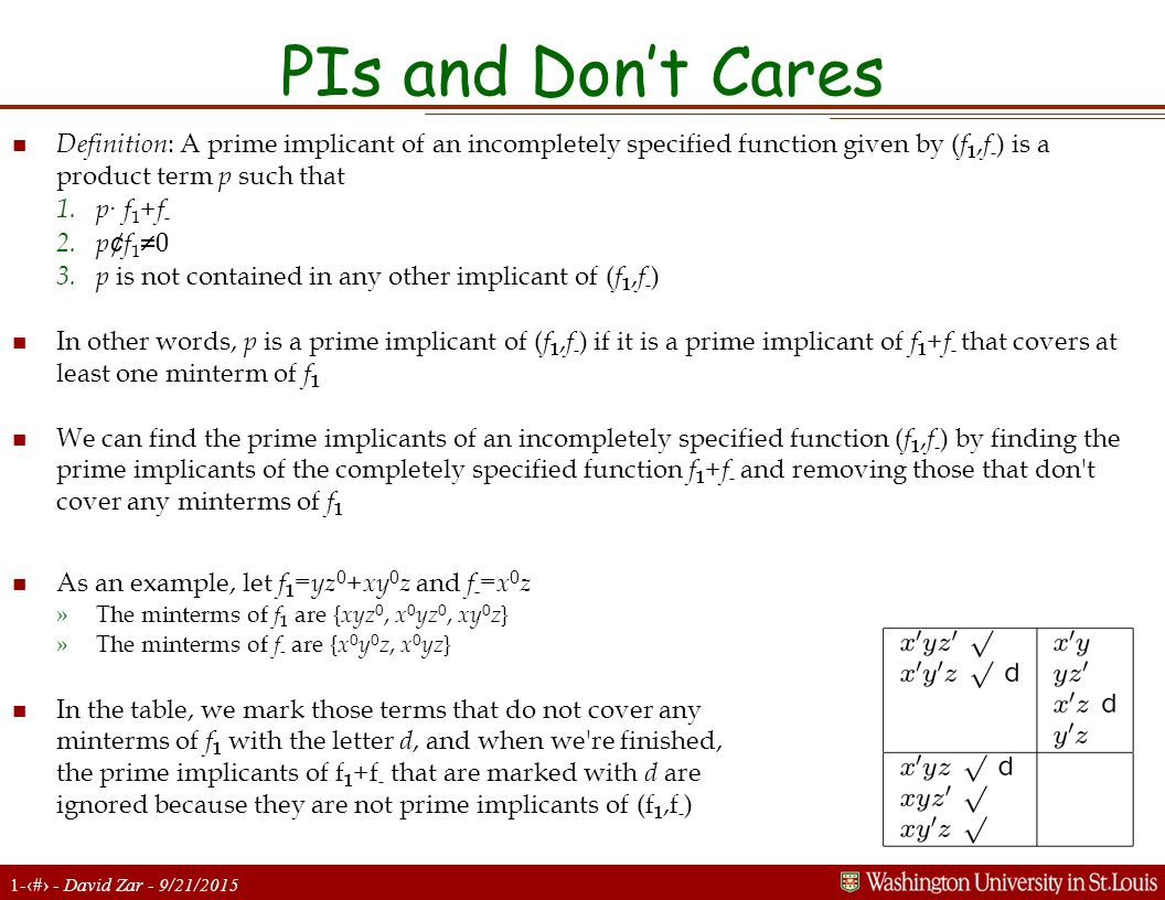 PIs and Don't Cares Definition: A prime implicant of an incompletely specified function given by (f1,f-) is a product term p such that.