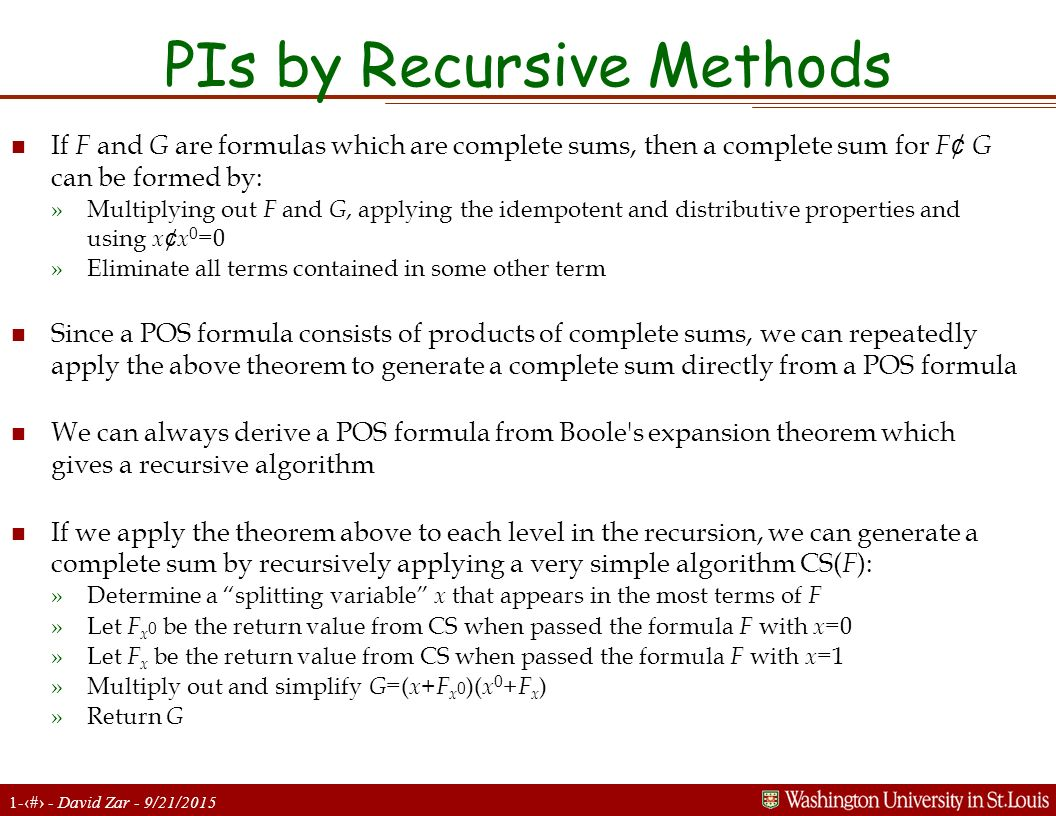 PIs by Recursive Methods