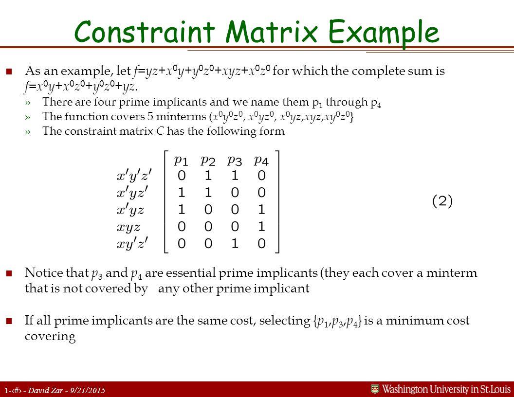 Constraint Matrix Example