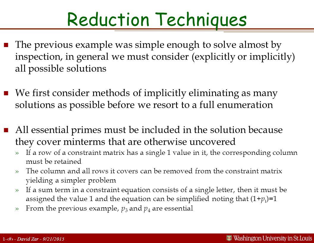 Reduction Techniques