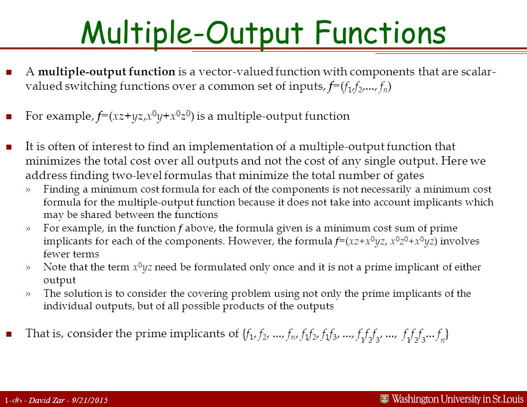 Multiple-Output Functions