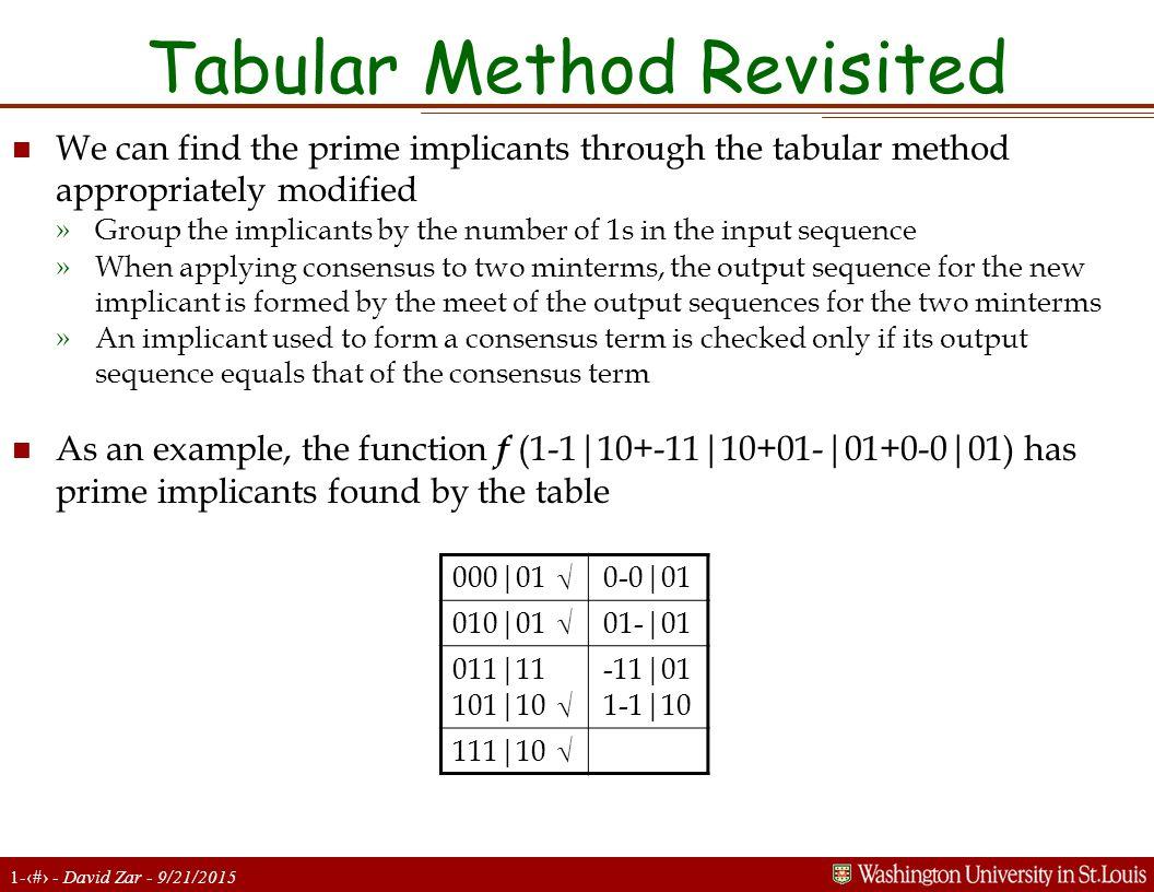 Tabular Method Revisited