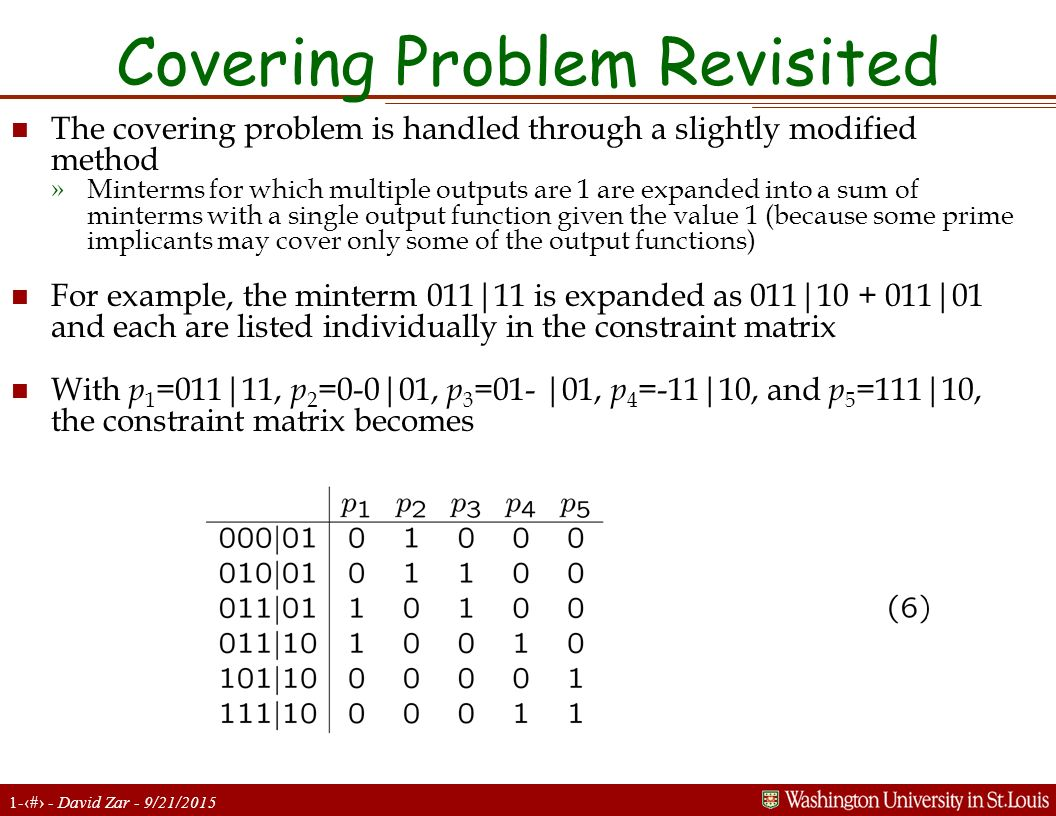 Covering Problem Revisited