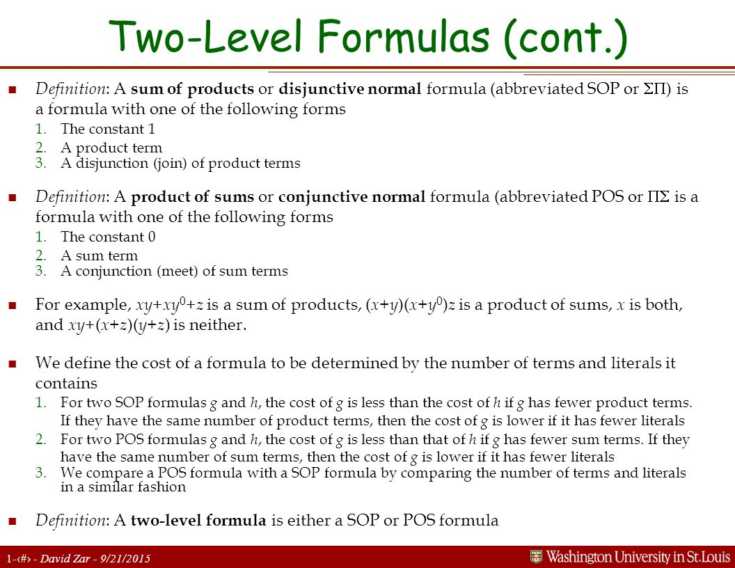 Two-Level Formulas (cont.)