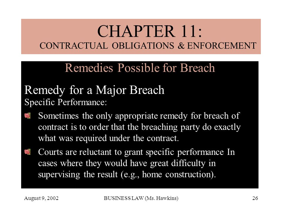 CHAPTER 11: CONTRACTUAL OBLIGATIONS & ENFORCEMENT