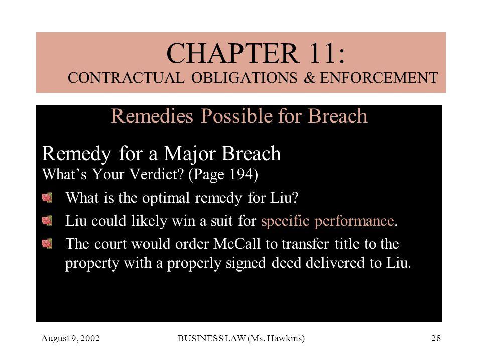 CHAPTER 11: CONTRACTUAL OBLIGATIONS & ENFORCEMENT