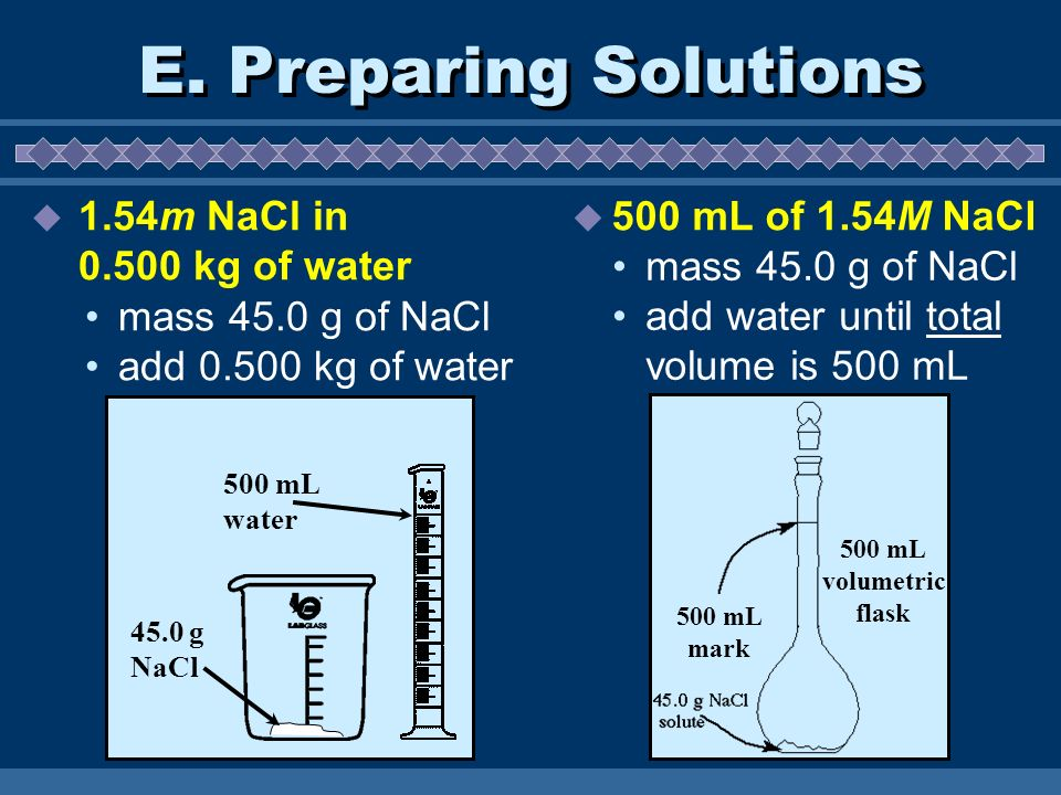 E. Preparing Solutions 1.54m NaCl in kg of water
