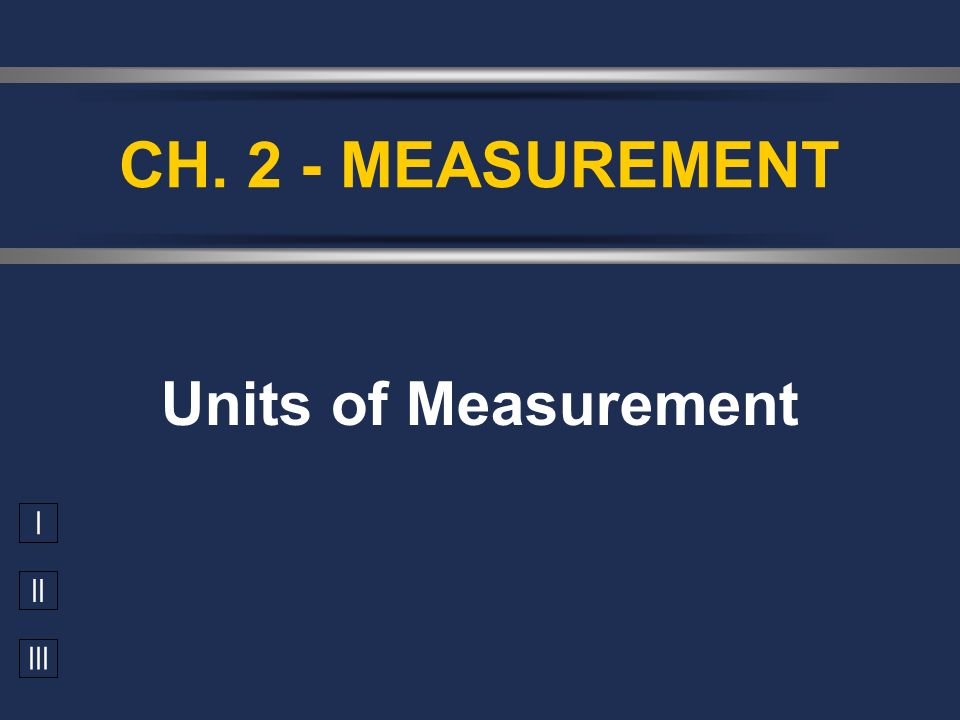 CH. 2 - MEASUREMENT Units of Measurement