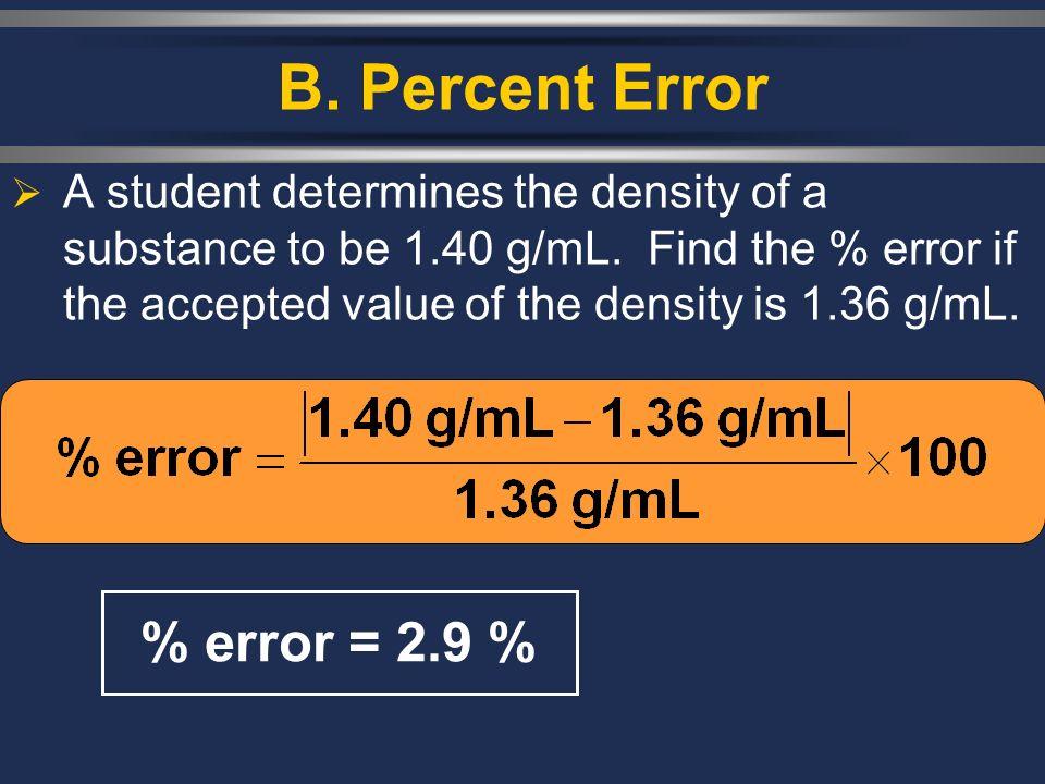 B. Percent Error % error = 2.9 %