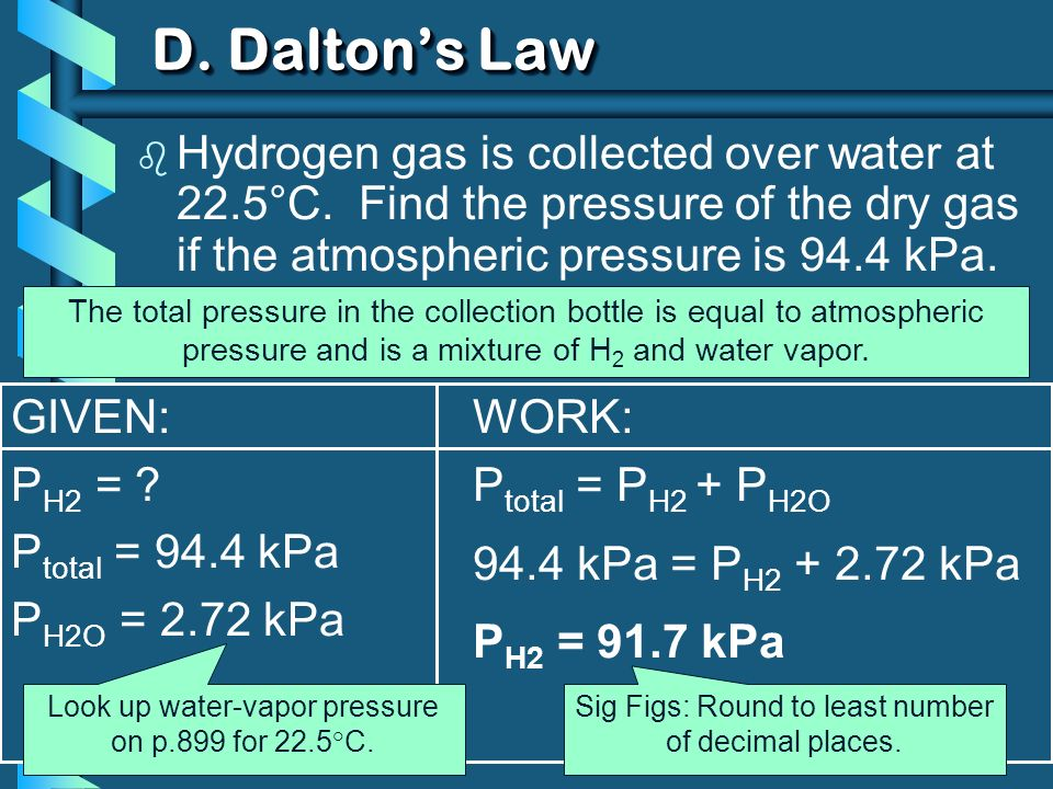 D. Dalton's Law Hydrogen gas is collected over water at 22.5°C. Find the pressure of the dry gas if the atmospheric pressure is 94.4 kPa.