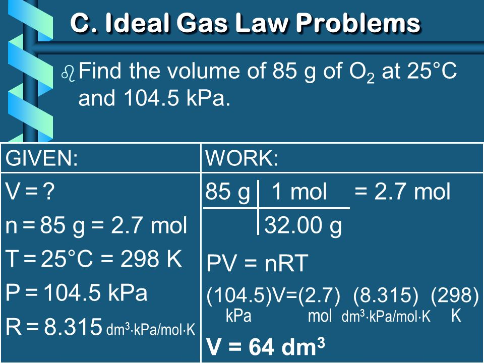 C. Ideal Gas Law Problems