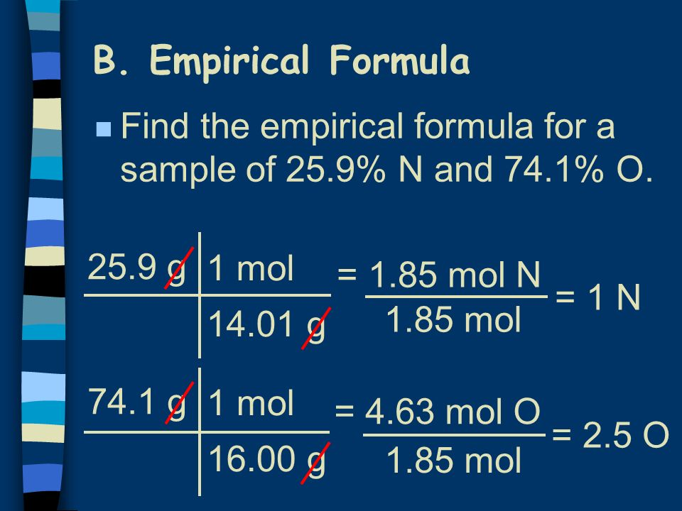 B. Empirical Formula Find the empirical formula for a sample of 25.9% N and 74.1% O. 25.9 g. 1 mol.