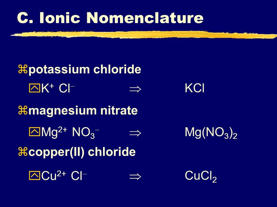 C. Ionic Nomenclature potassium chloride magnesium nitrate