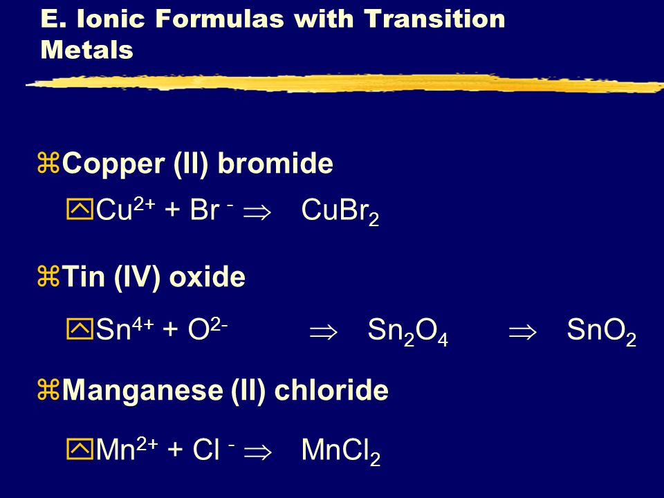 E. Ionic Formulas with Transition Metals