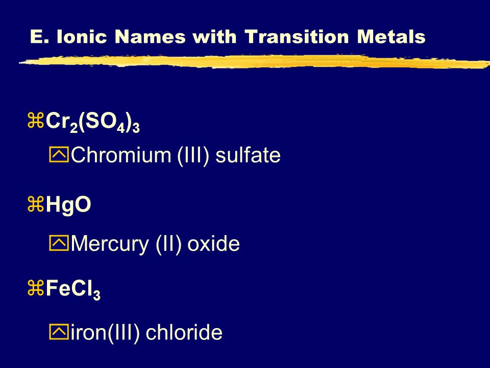 E. Ionic Names with Transition Metals