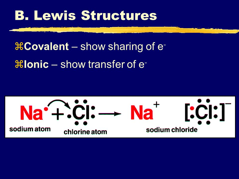 B. Lewis Structures Covalent – show sharing of e-