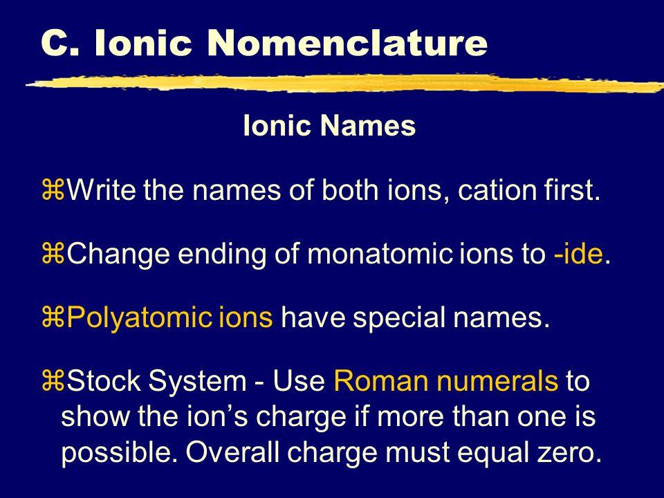 C. Ionic Nomenclature Ionic Names