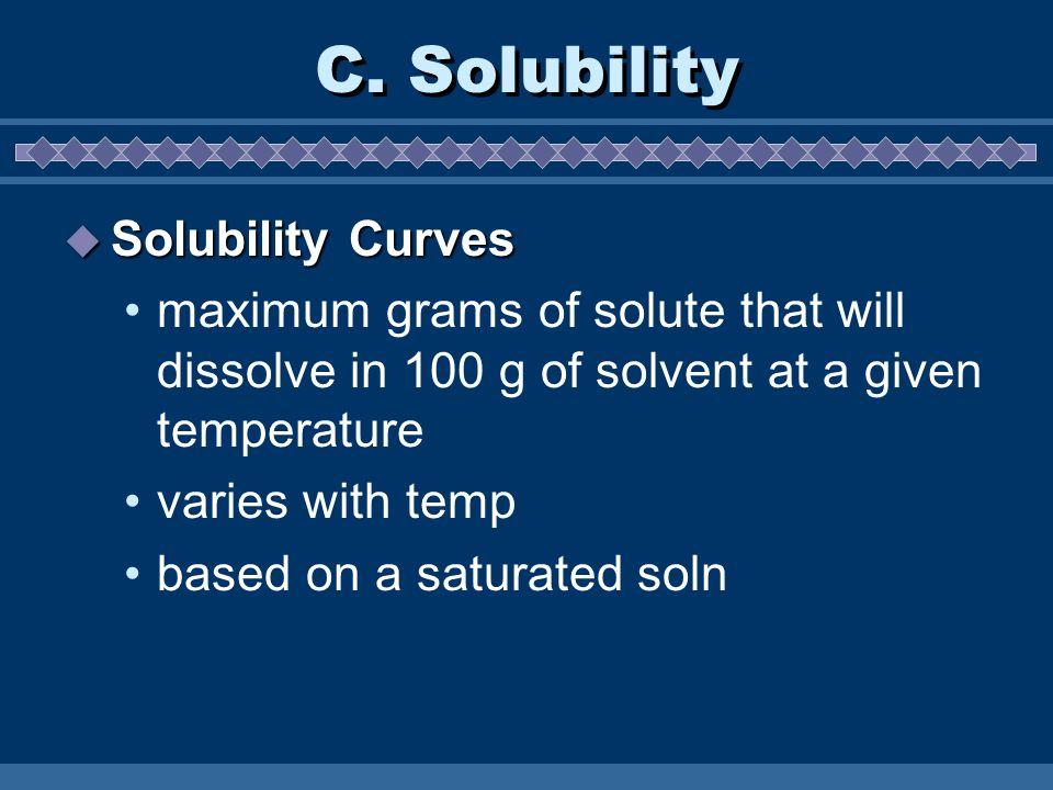 C. Solubility Solubility Curves
