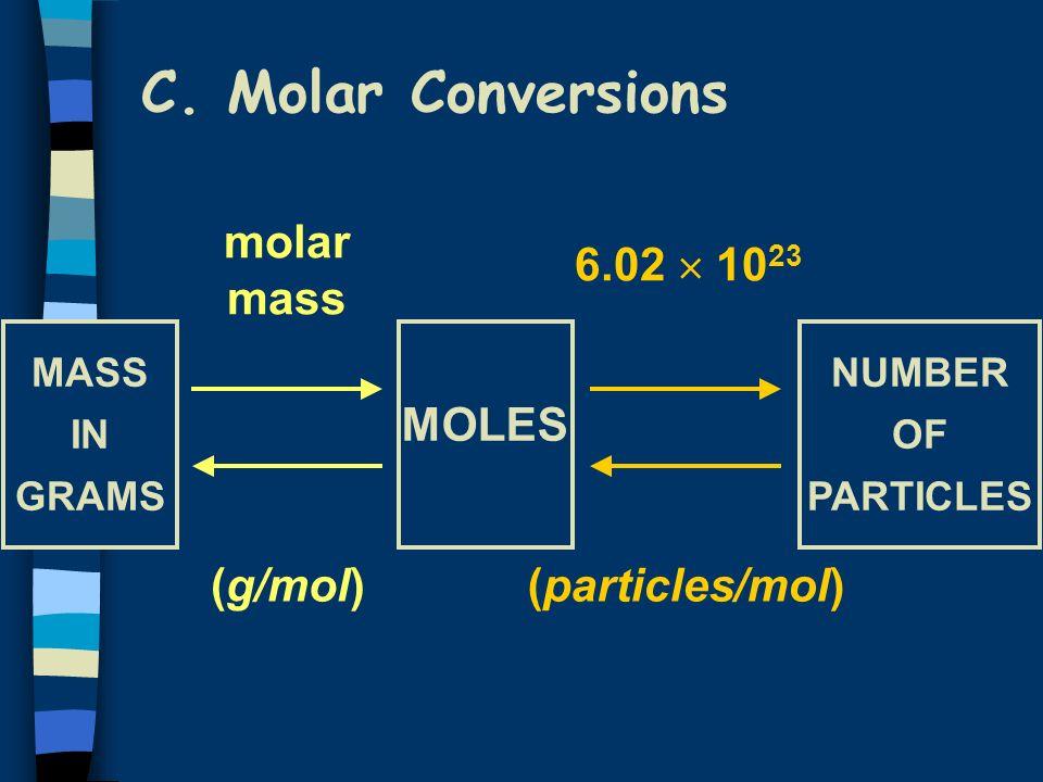C. Molar Conversions molar mass 6.02  1023 MOLES (g/mol)