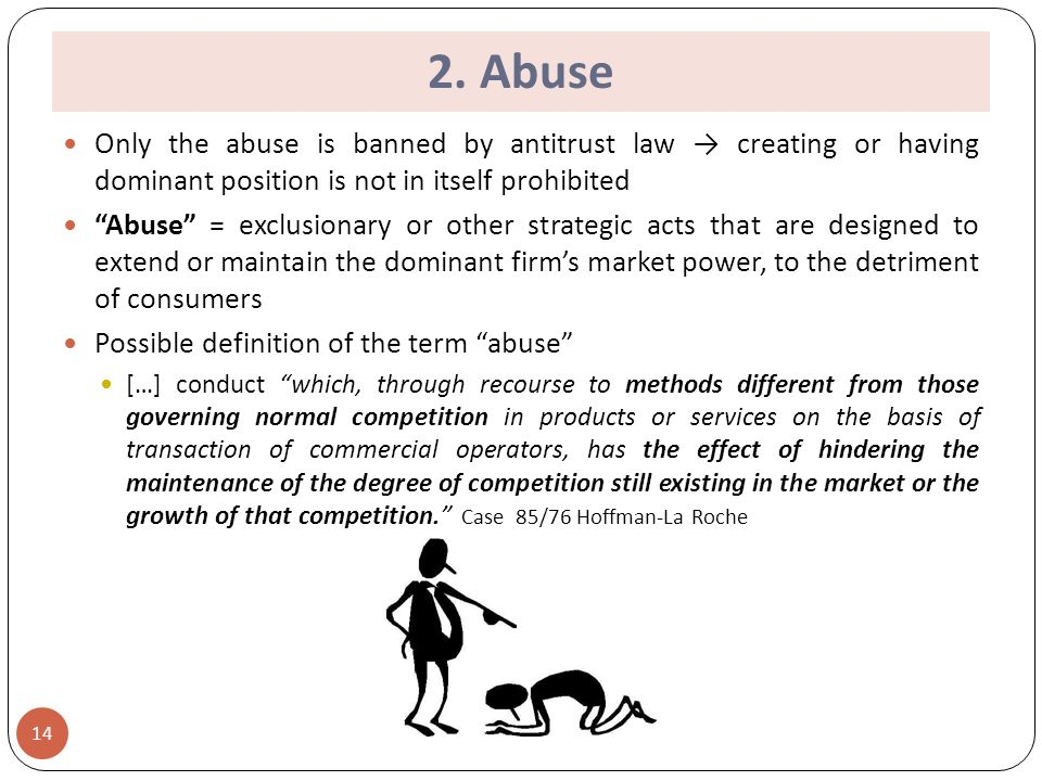 abuse of dominant position 16 chapter ii of the competition act prohibits the abuse of a dominant market position in the uk such an abuse may also breach article 102 tfeu to the extent that it affects trade between member states.