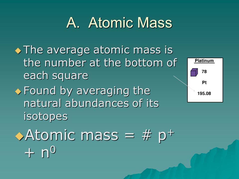 A. Atomic Mass Atomic mass = # p+ + n0