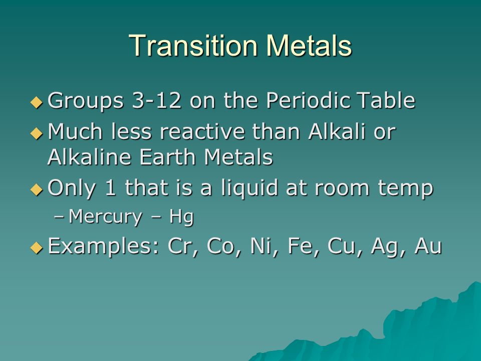 Transition Metals Groups 3-12 on the Periodic Table