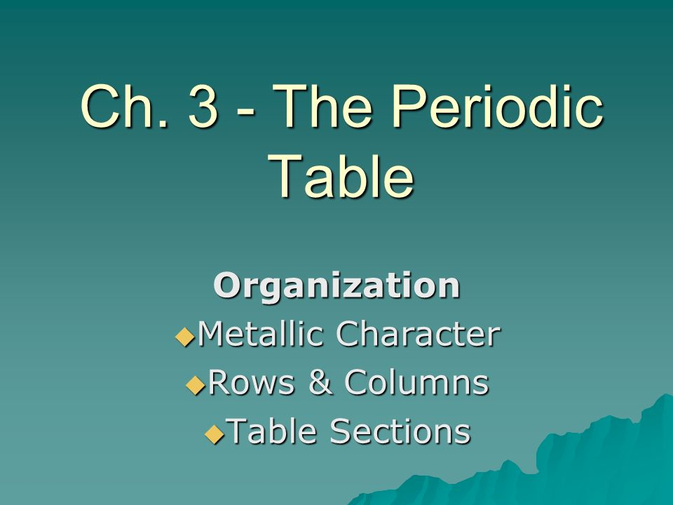 Organization Metallic Character Rows & Columns Table Sections