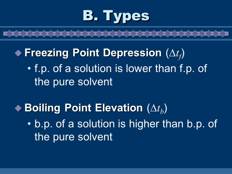B. Types Freezing Point Depression (tf)