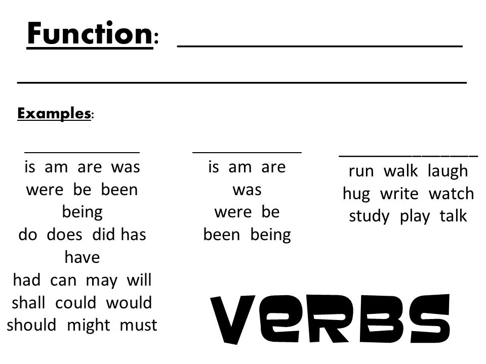 nouns function                               examples