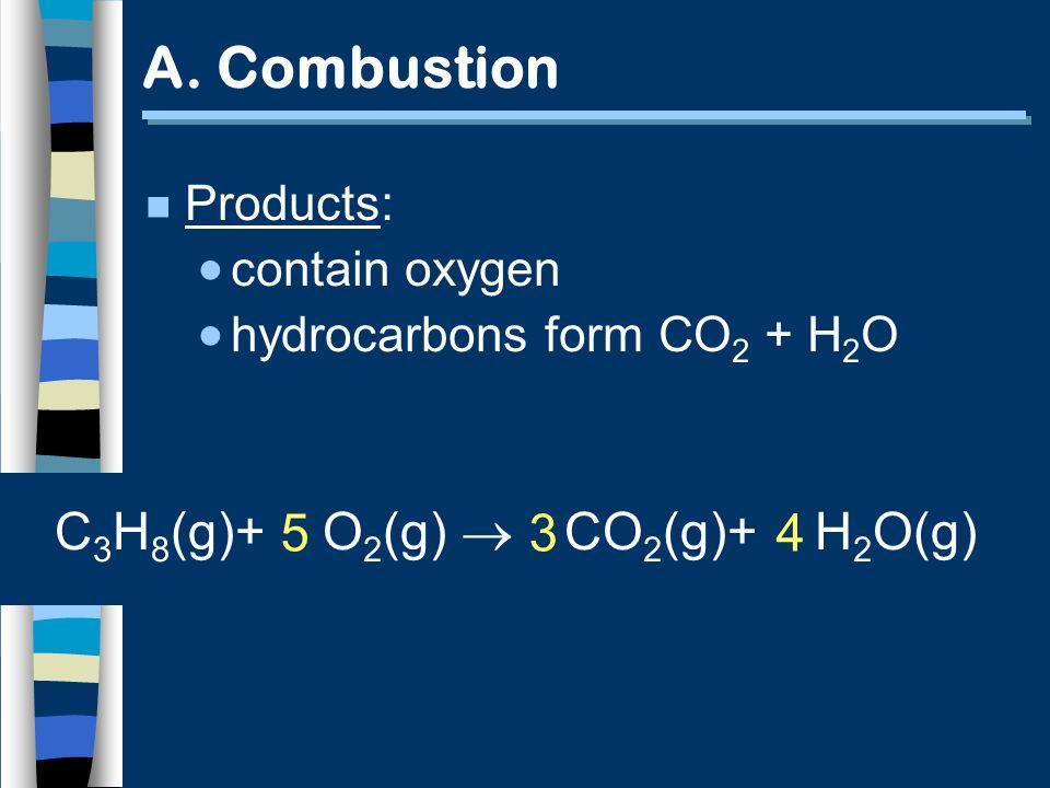 A. Combustion C3H8(g)+ O2(g)  5 3 4 CO2(g)+ H2O(g) Products: