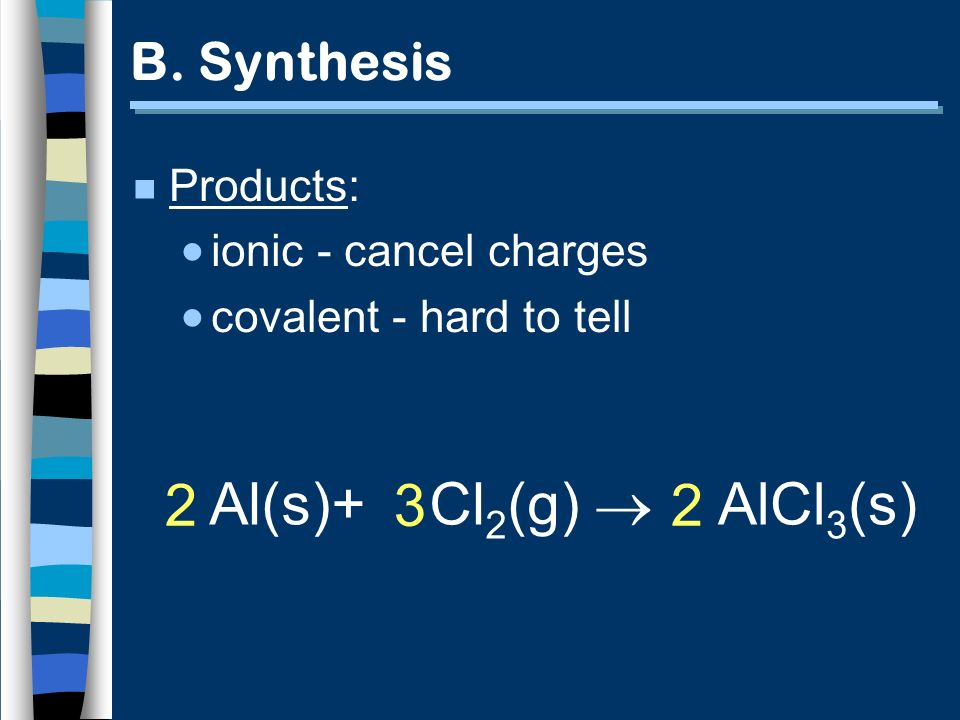 Al(s)+ Cl2(g)  2 3 2 AlCl3(s) B. Synthesis Products: