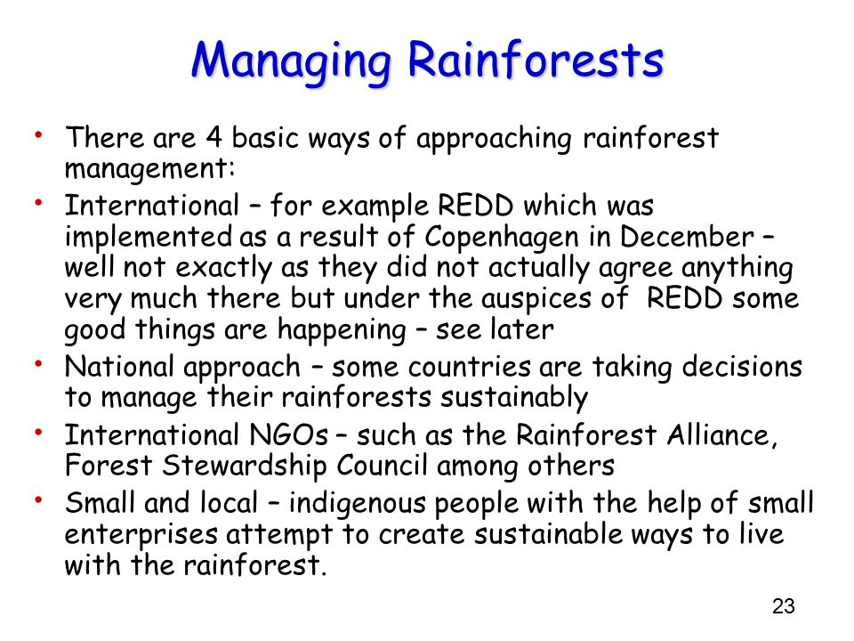 Managing Rainforests There are 4 basic ways of approaching rainforest management: