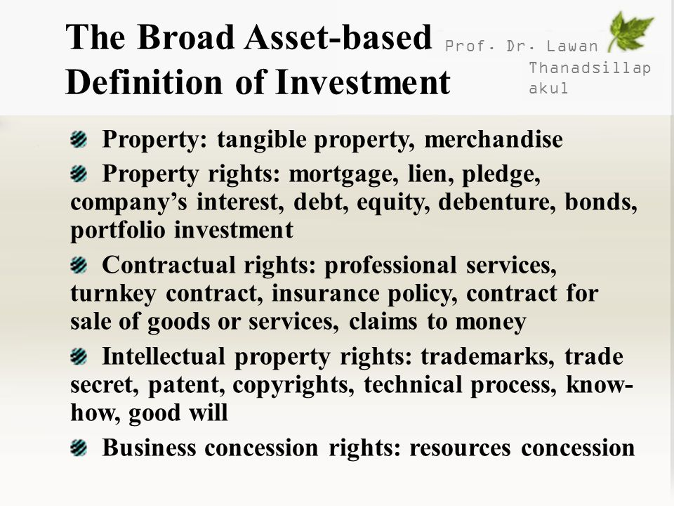 The Broad Asset-based Definition of Investment