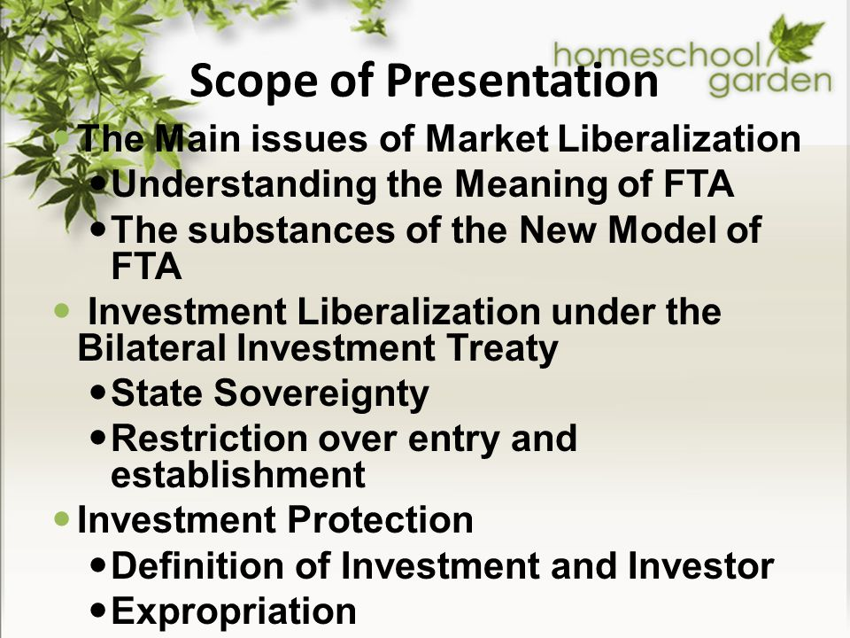 Scope of Presentation The Main issues of Market Liberalization