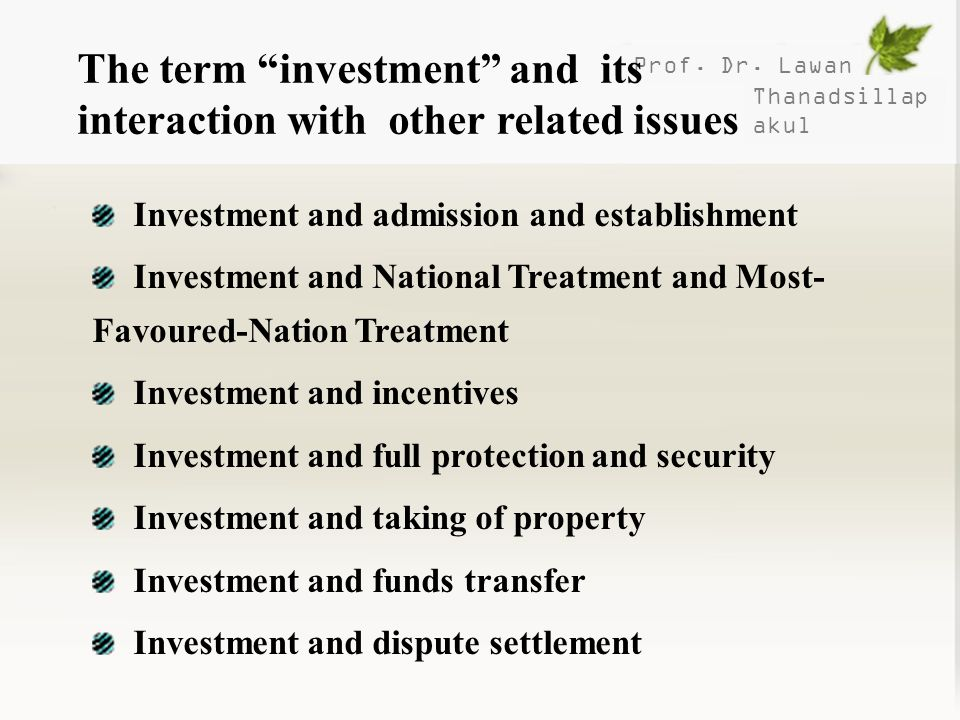 The term investment and its interaction with other related issues