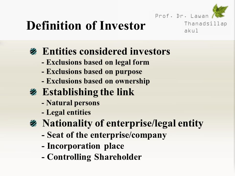 Definition of Investor