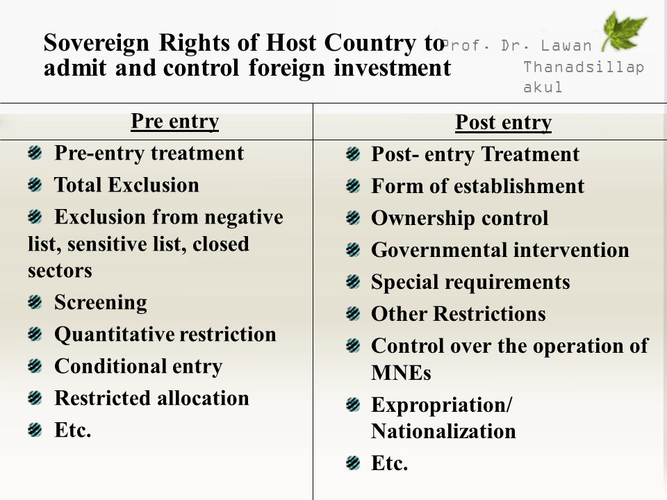 Sovereign Rights of Host Country to admit and control foreign investment
