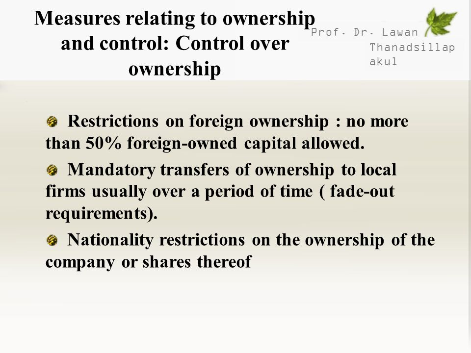 Measures relating to ownership and control: Control over ownership