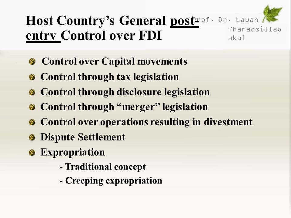 Host Country's General post-entry Control over FDI